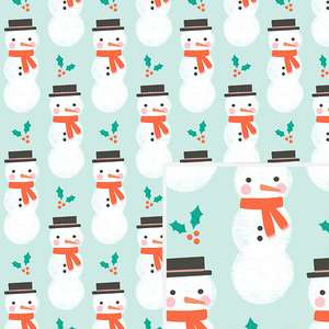 snowman & holly pattern