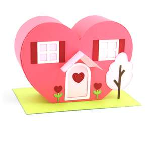 3d house valentine heart