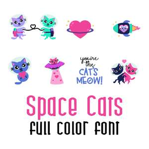 space cats - love full color font