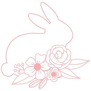 floral outline bunny