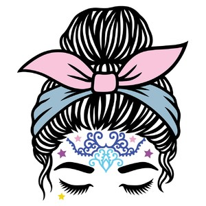 boho messy bun and bandana headband girl