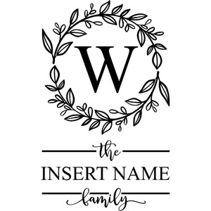 family monogram design with wreath