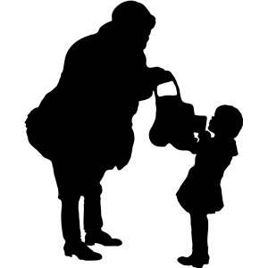 santa and child silhouette
