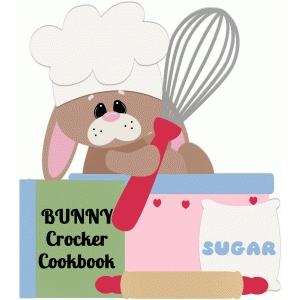bunny baking with cookbook