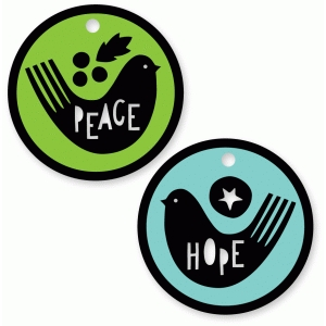 peace hope circle bird tags set