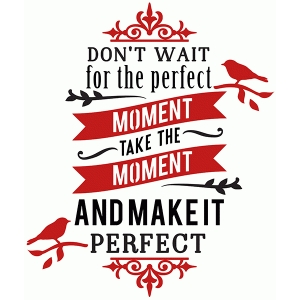 don't wait for the perfect moment phrase