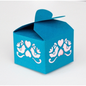 bird & heart treat or favor box with heart top
