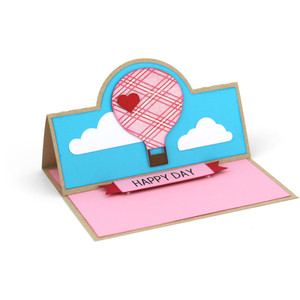 a2 easel card hot air balloon happy day