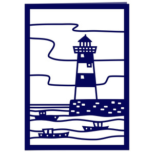 lighthouse papercut card