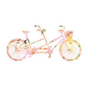 cute bike with watercolor flowers