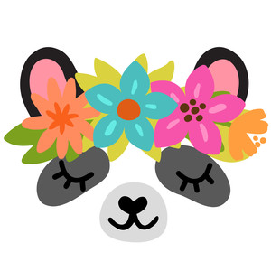 panda with flower crown