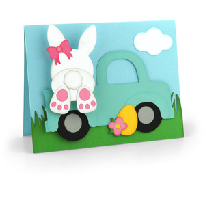bobble head card easter bunny truck