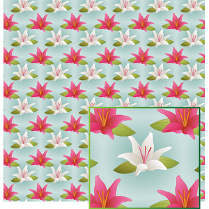 pink and white lily pattern