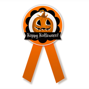 halloween printable badge with pumpkin