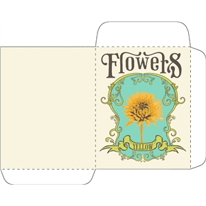 antique yellow flower seed packet