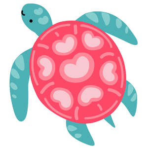 sea turtle with heart shell