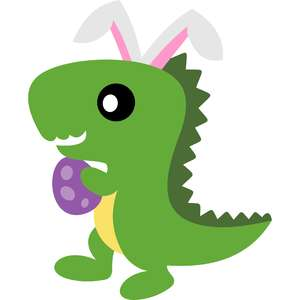 t-rex bunny ears and easter egg