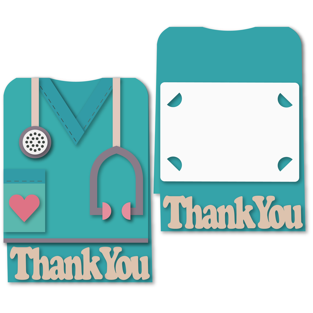 medical scrubs shaped a6 card
