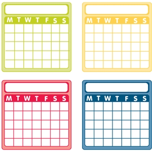 set of 4 weekly calendar cards