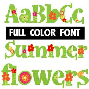 summer flowers color font