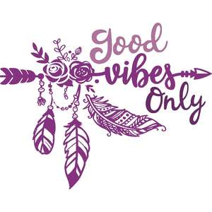 good vibes only feather arrow