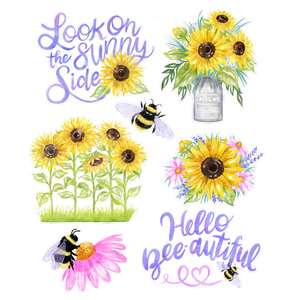 sunflowers and bee watercolor stickers