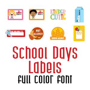 school days labels full color font