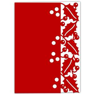 holly berry lace edged card