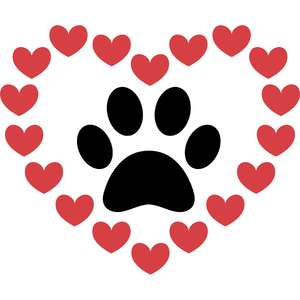 hearts and paw
