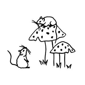 cute mice with mushrooms