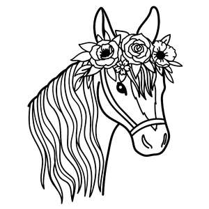 horse with flower crown