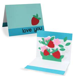 pop up card - spring strawberry