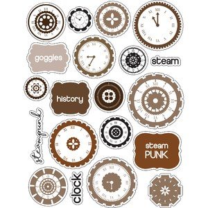 ml steampunk clocks stickers