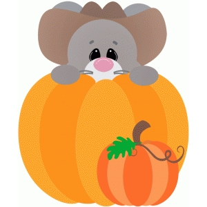 mouse peeking out of pumpkin fall