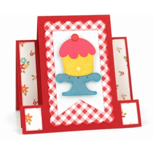 square center step card: cupcake