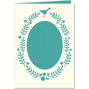 bird and leaf 5x7 card with oval aperture