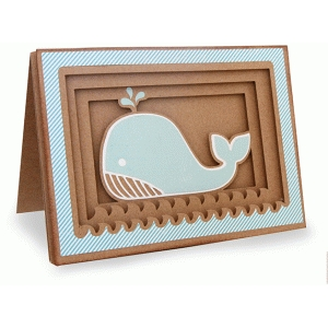whale shadow box folded card