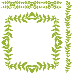 border frame set laurel leaves