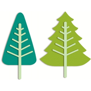 2 evergreen trees