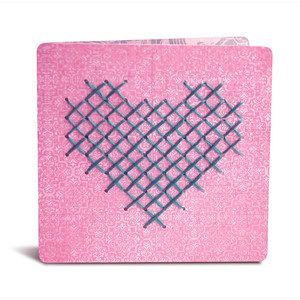 folded card with heart cross stitch pattern