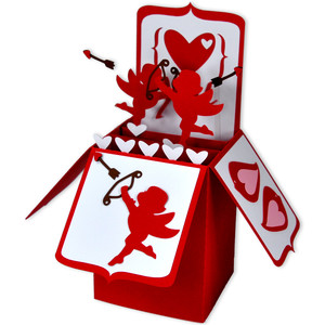 cherub valentine card in a box