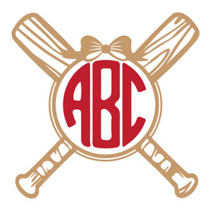 girls baseball monogram