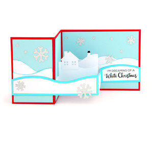 a2 pop up box card white christmas