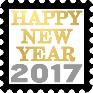 happy new year 2017 stamp