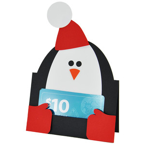 penguin gift card holder or placecard