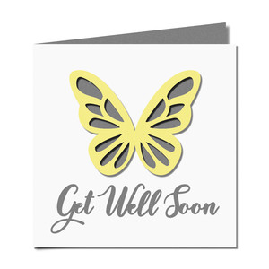 butterfly cutout 'get well' card