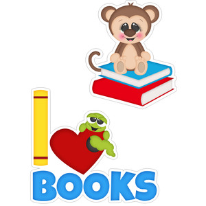 school monkey and i love books title stickers