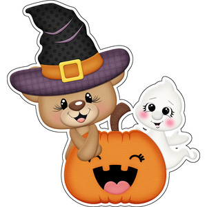 halloween bear witch with jackolantern and ghost sticker / die cut