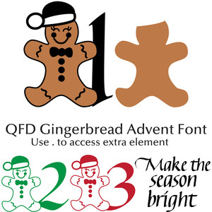 qfd gingerbread advent font