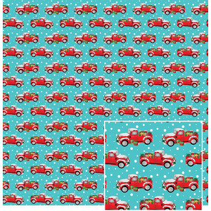 red truck in the snow pattern